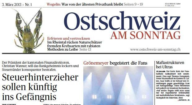 """""""Ostschweiz am Sonntag"""": Achte Sonntagszeitung in der deutschen Schweiz lanciert"""
