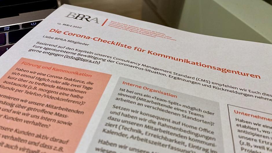 BPRA: Corona-Checkliste für Agenturen