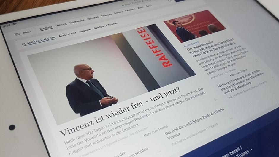Neue Zürcher Zeitung: Front von nzz.ch soll übersichtlicher sein
