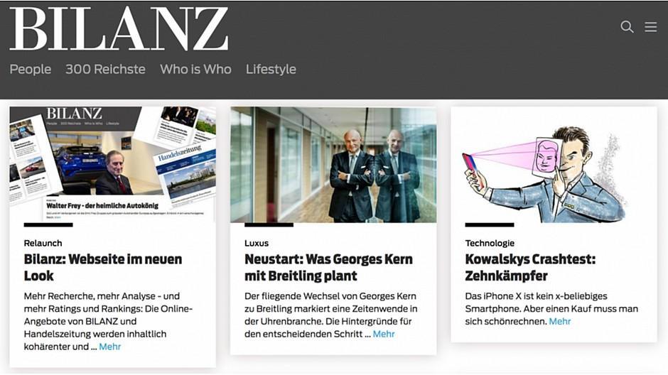 Bilanz/Handelszeitung: Neuer Online-Auftritt für Wirtschaftsmedien