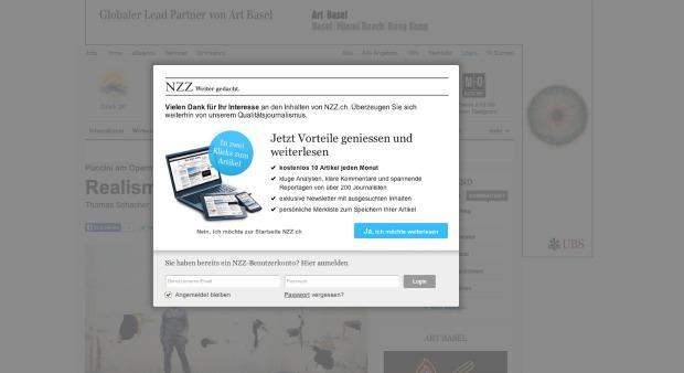 NZZ: Erhöht die Bezahlschranke