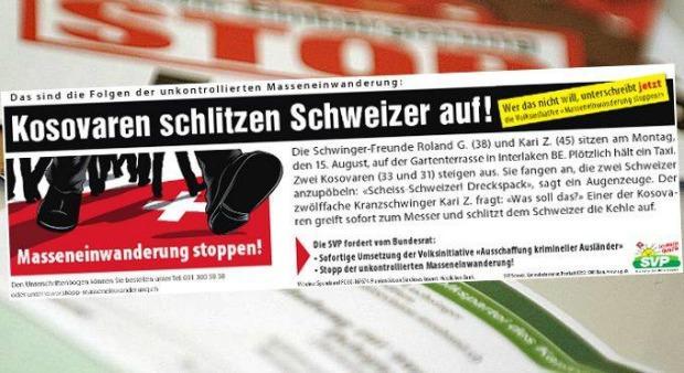 SVP: Partei-Kader wegen Messerstecher-Inserat verurteilt