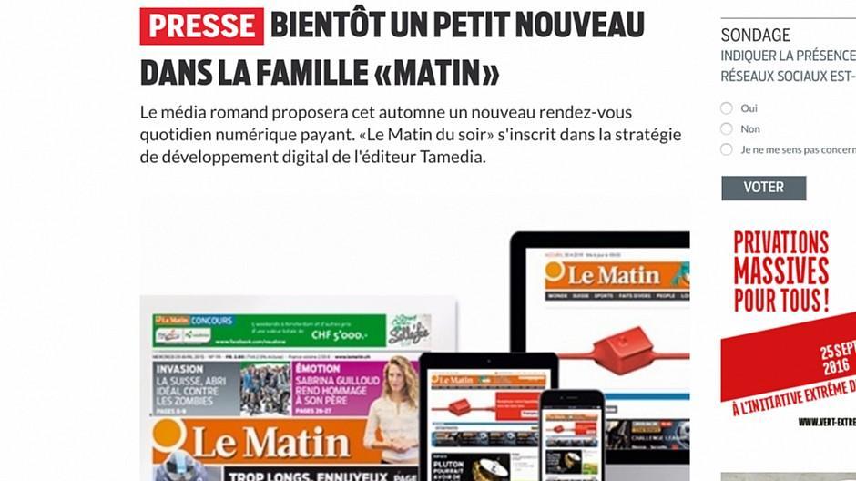 Le Matin: Neue App-Abendzeitung für die Westschweiz