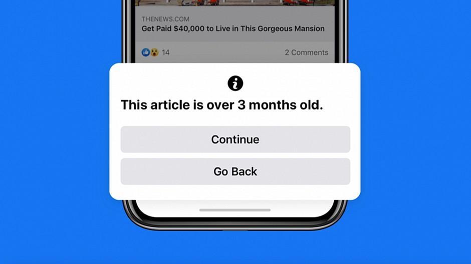 Facebook: User werden vor alten News gewarnt