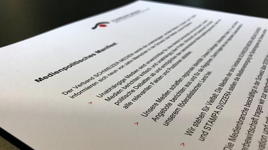 Verband Schweizer Medien: Verleger verabschieden medienpolitisches Manifest