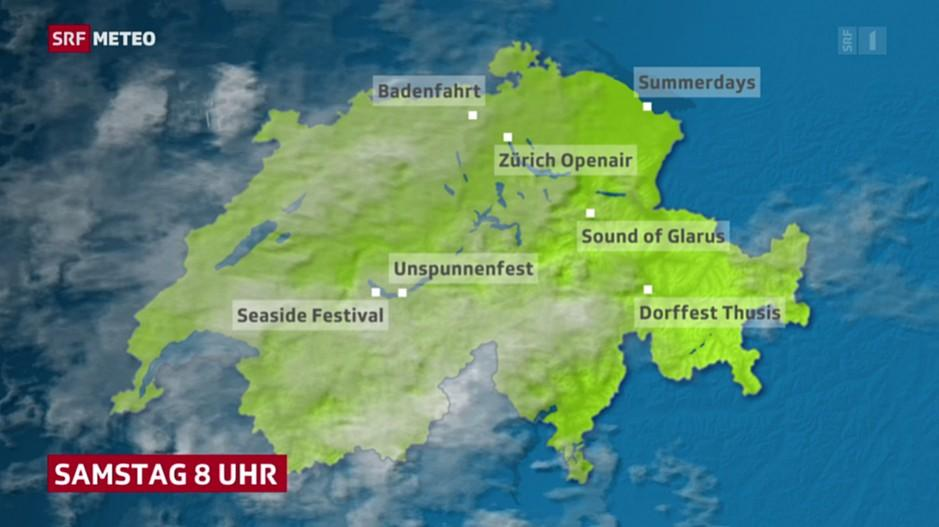 Wetter für Sommer-Events: Wetterkarte mit Unspunnenfest und Badenfahrt