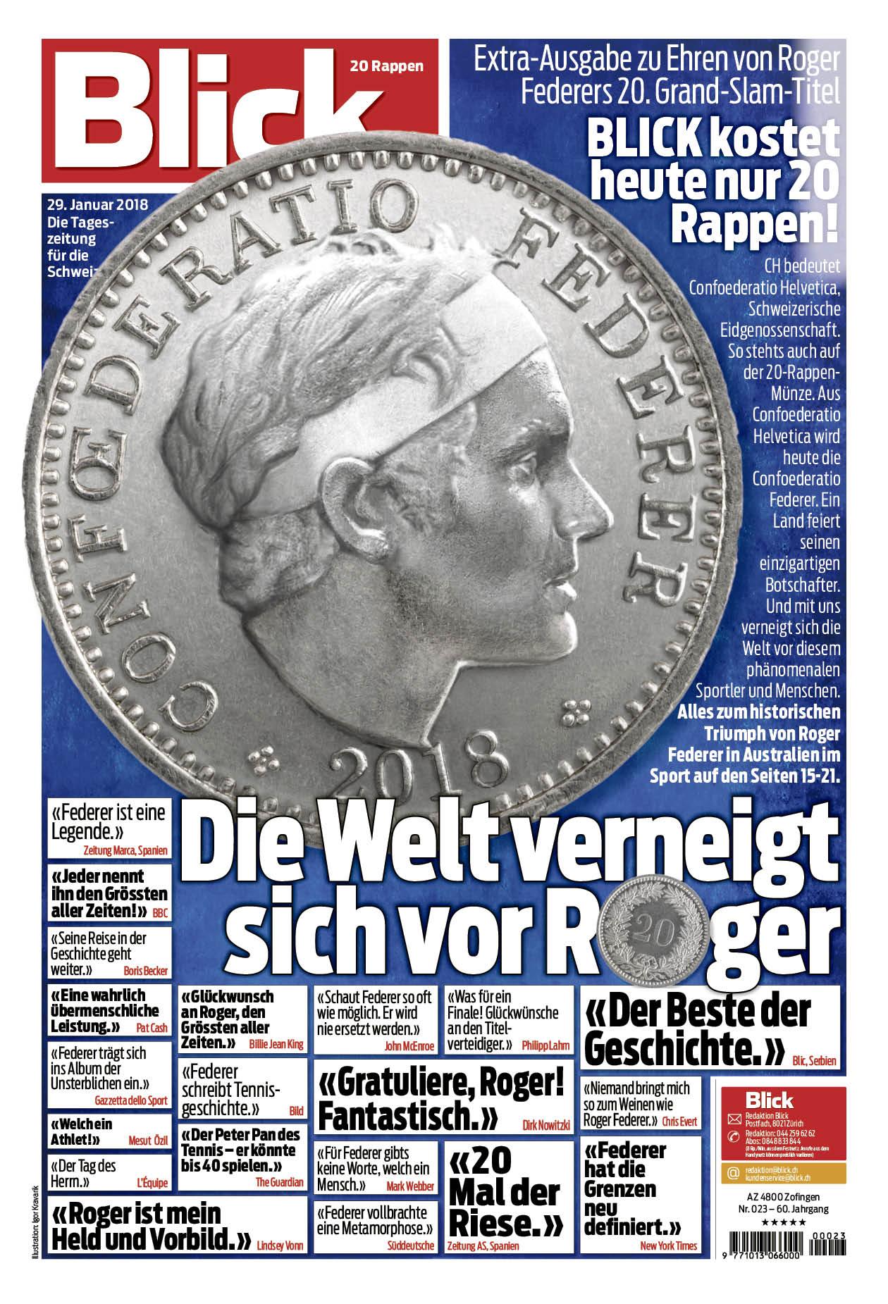 Ringier Blick Kostet Am Montag 20 Rappen Medien