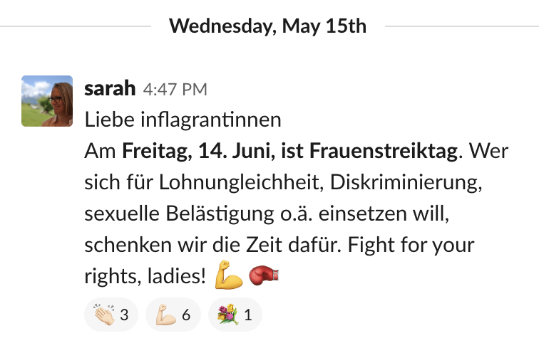 Slack-Mitteilung in flagranti 15.5.19