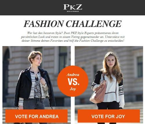 58ddba493f3aca Dabei treten die beiden Pkz.ch-Style-Expertinnen und Fashion-Bloggerinnen  Andrea Hug und Joy Oelen gegeneinander an. Sie wollen im Zeitraum von acht  Wochen ...